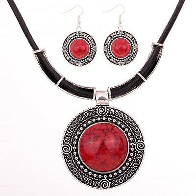Charms Round Red Turquoise Tibetan Silver Pendant Necklace Chain Earrings Set