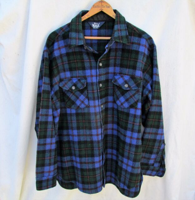 Vintage Woolrich Green Blue Plaid Wool Shirt Top Mens M L 80s USA made hunting