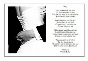 Wedding Gift From Parents To Son : Personalised Wedding Day Poem Gift - From Brides PARENTS TO SON IN LAW ...