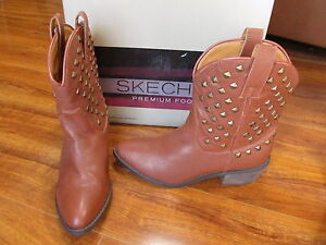 0170fe08080 Details about NEW SKECHERS AXEL Pyramid Studded Western Boots Brown Leather  Womens 48214 $119