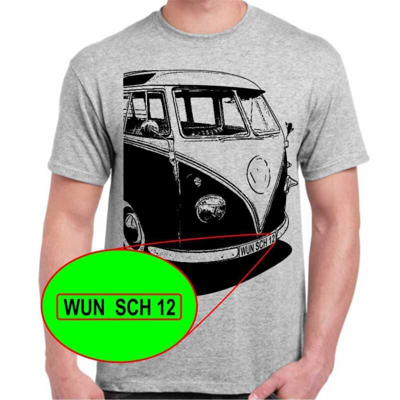 Bus T1 Bulli T-shirt Mit Oder Ohne Wunschbeschriftung Auf Kennzeichen
