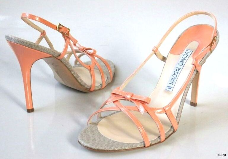 New bow 468 LUCIANO PADOVAN peach Leder open-toe bow New strappy Sandales heels schuhe 97f30c