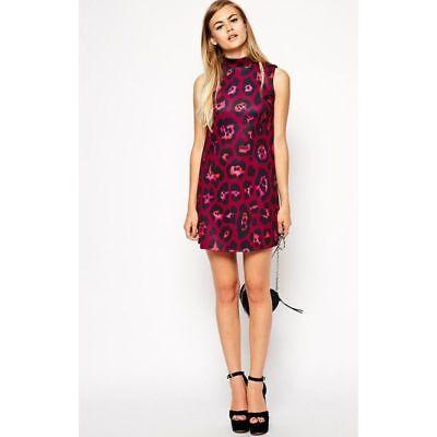 New Asos Sleeveless Pink Fuchsia Black Animal Leopard Print Summer Dress 8 - 18