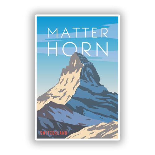 2 x Matterhorn Mountain Switzerland Vinyl Stickers Travel Luggage #7999