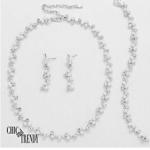 Cheap Price Clearance White Pearl Prom Bridesmaid Wedding Formal Necklace Jewelry Set Trendy Bridal & Wedding Party Jewelry
