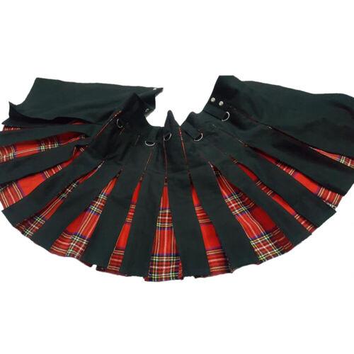 "Details about  /Scottish Black Hybrid Kilt With Tartan Pleats Utility Kilts For Men 28/"" to 50/"""