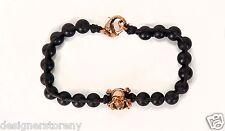 Stephen Webster Alchemy Black Leather onyx bracelet 18kt Rose Gold plated skull