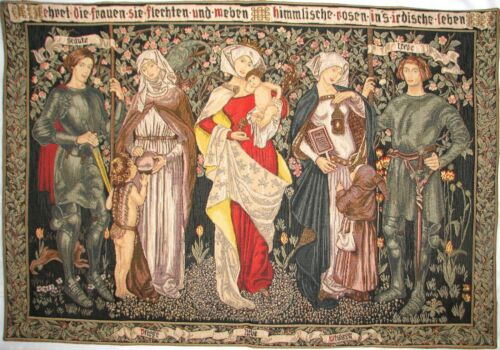 """ROD SLEEVE L/'HOMMAGE AUX FEMMES 41/"""" X 28/"""" LINED BELGIAN TAPESTRY WALL HANGING"""