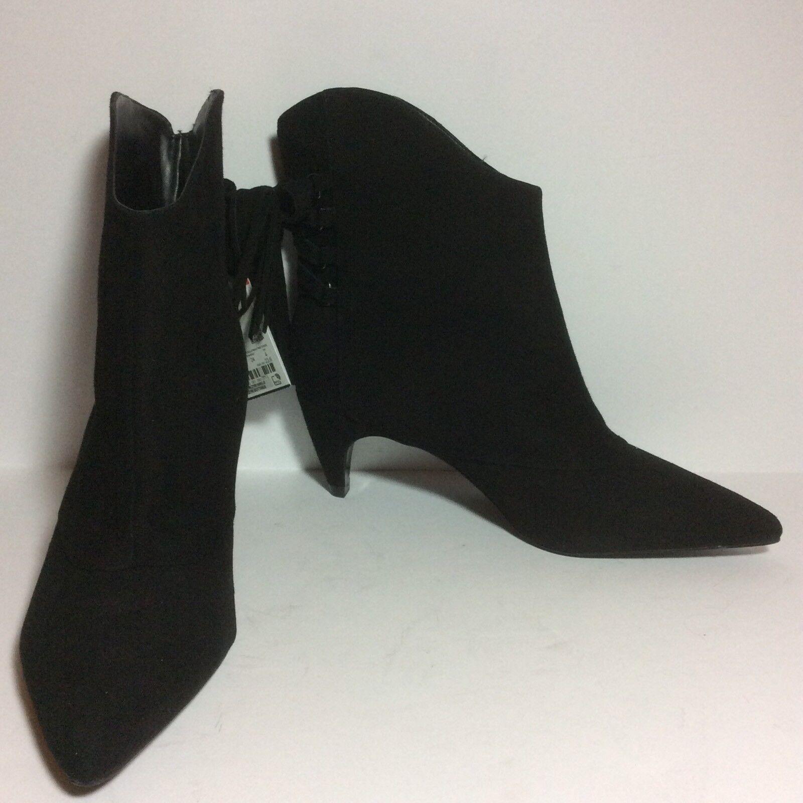 NWT Zara Black Suede Mid High Tassel Ankle Bootie SZ 6.5 37 HTF
