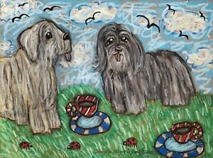 Bergamasco-Folk-Art-Print-8x10-Signed-by-Artist-Kimberly-Helgeson-Sams-Ladybugs