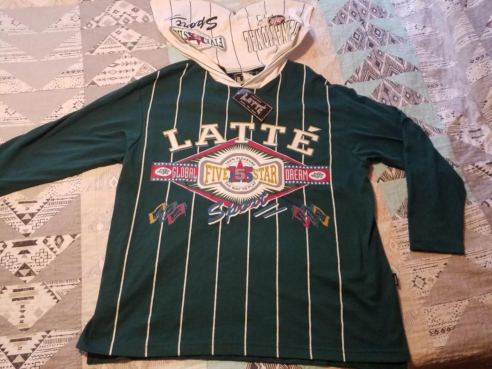 RARE Vintage 90s L W/ Hooded Shirt Latte Sport T-shirt W/ L TAGS!!!!! 5 STAR STREET 9dbdb5