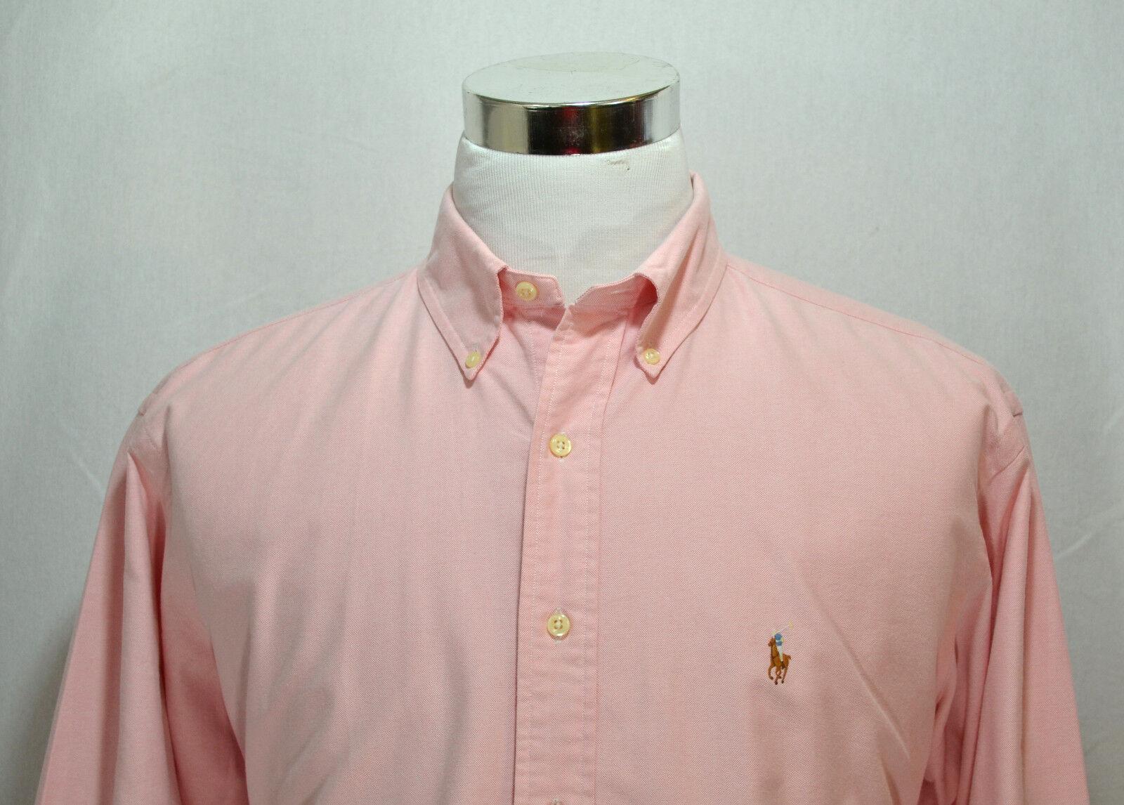 RALPH LAUREN Men's Yarmouth Long Sleeve Dress Shirt Size 16 1 2 - 36 Pink