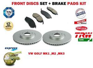 Per-VW-Golf-MK1-MK2-MK3-1-6-1-8-GTI-1-9-1978-gt-Disco-Freno-Anteriore-Set-Pastiglie-Set