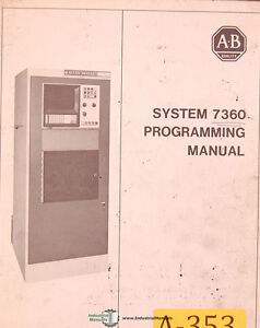 Allen Bradley 7340 & 7360 Control System, Turning Center Programming Manual 1977