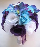 17 Pc Wedding Bouquet Bridal Silk Flowers Purple White Aqua Blue Orchid