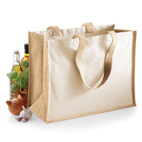 W422 Jute Canvas Shopper Bag Colourful Tote Womens Canvas Bags Natural Beige