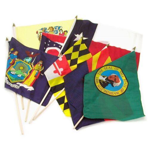 """USA Set Stick Flag Wood Staff 12x18 12/""""x18/"""" Wholesale Lot of 50 States"""