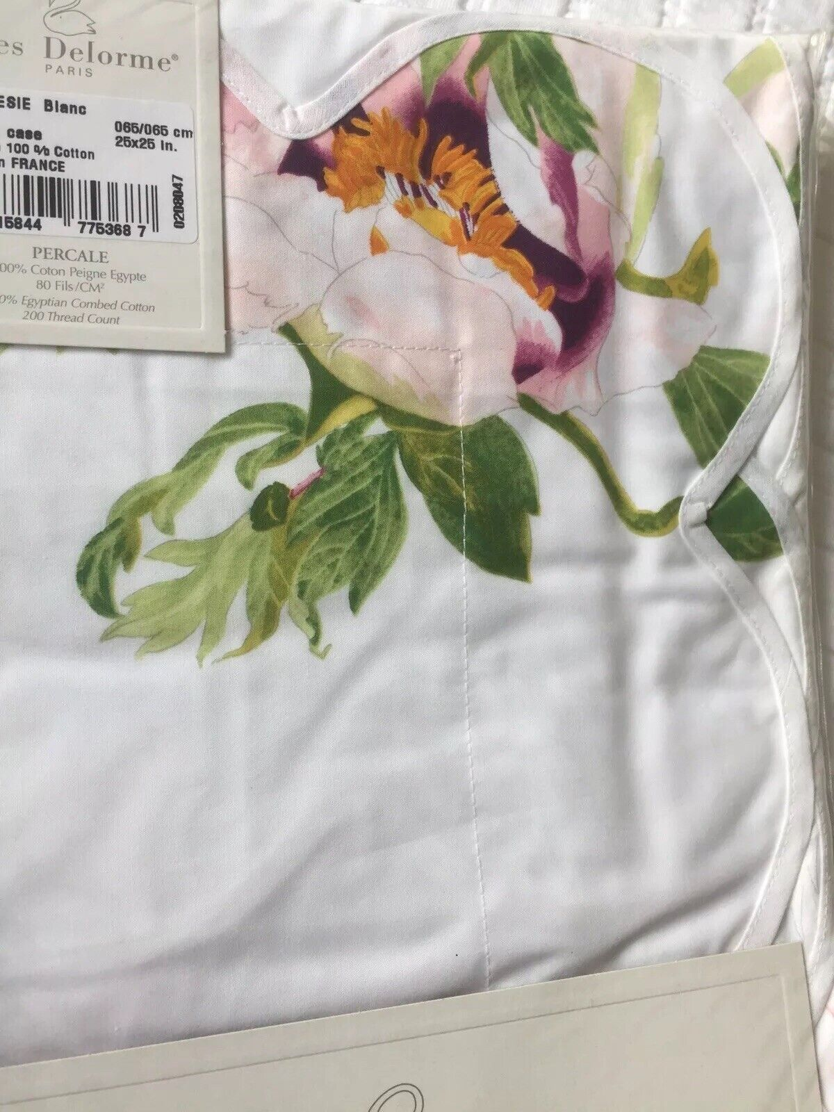 YVES DELORME HORTESIE PEONY FLORAL Weiß Pair of EURO Pillowcases
