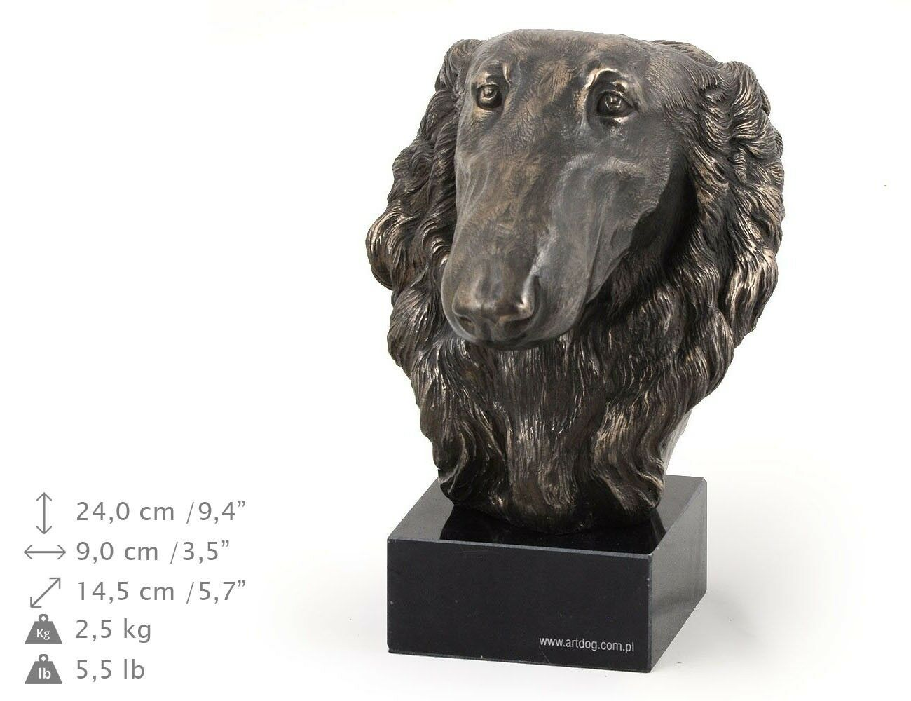 Barzoï Russian Wolfhound - dog figurine on the marble base, high quality Art Dog