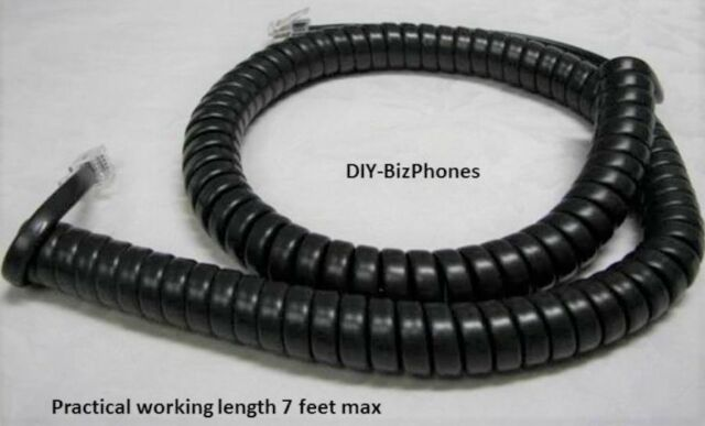 12 Feet 12/' foot BLACK Modular Plug Coiled Telephone Handset Cord 12ft