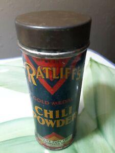 Vintage-Ratliffs-Chili-Powder-Tin-Ft-Worth-Tx-1-1-4-oz-Kitchen-spice