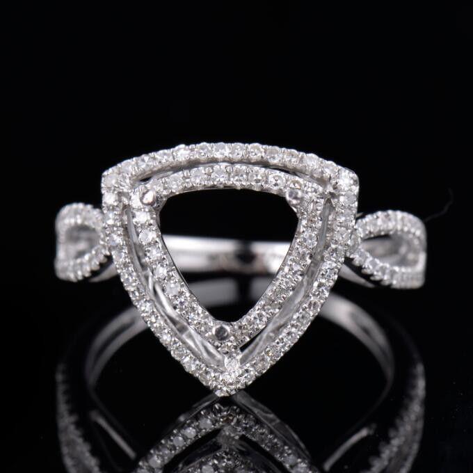 Natural Diamond Semi Mount Ring Prong Setting Trillion Cut 8x8mm 14K White gold