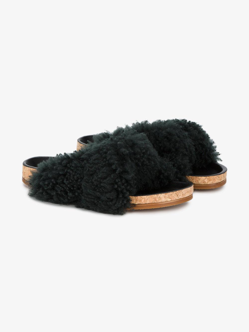 NUOVO CHLOE Karen plantare VERDE SCURO SHEARLING diapositive sandali-Taglia 35/