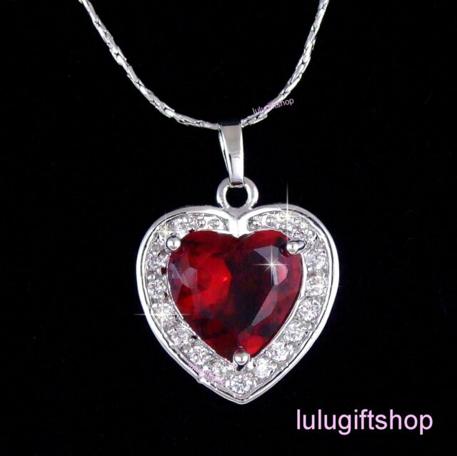 18K WHITE GOLD PLATED HEART BURGUNDY RED PENDANT NECKLACE USE SWAROVSKI CRYSTALS