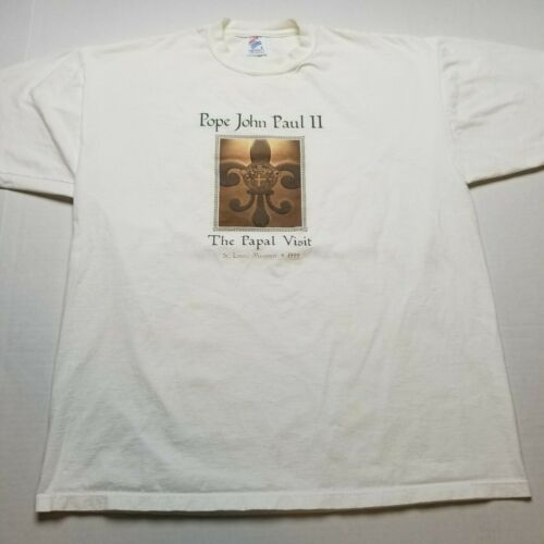 Vtg 1999 Pope John Paul T-Shirt Mens L Jerzees Pap
