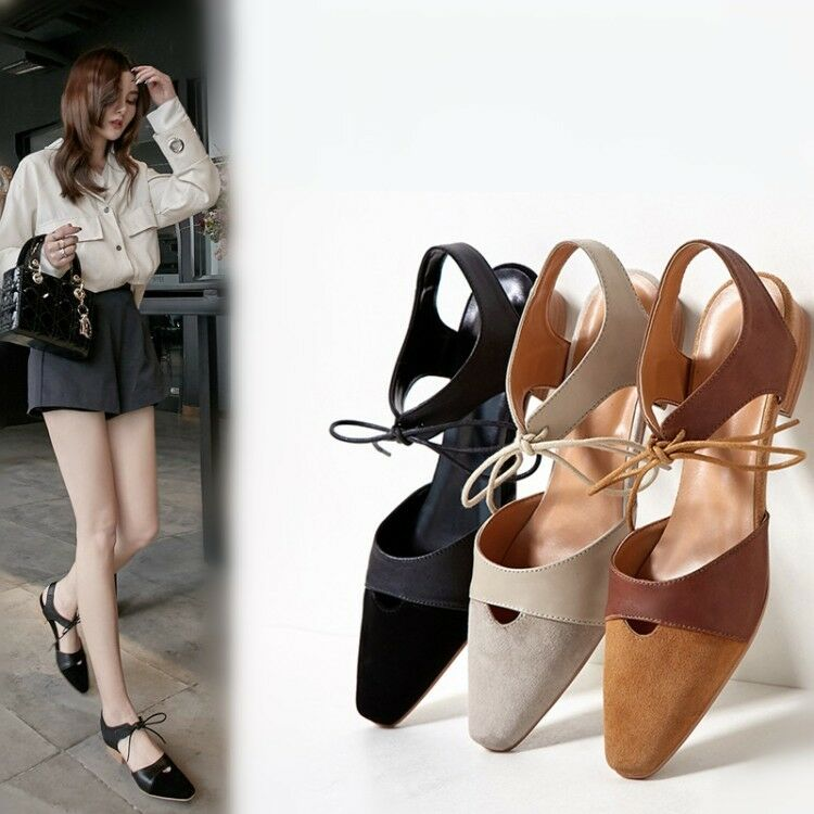 Femmes Flat Casual Slingback Lace Up Sandals Square Close Toe Summer chaussures  Taille