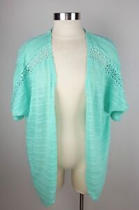 CATO-Women-039-s-Small-Aqua-Blue-Short-Sleeve-Lace-Open-Front-Shrug-Sweater-Cardigan