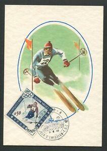 MONACO-MK-1960-OLYMPIA-OLYMPICS-SKI-MAXIMUMKARTE-CARTE-MAXIMUM-CARD-MC-CM-d8488