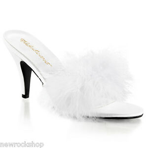 Marabou Fur Slippers Kitten Heel Classic White Sandals 03 Fabulicious Amour q0wXtYp