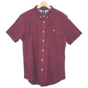 Element-Mens-Check-Short-Sleeve-Shirt-Size-Large-Maroon-Burgundy