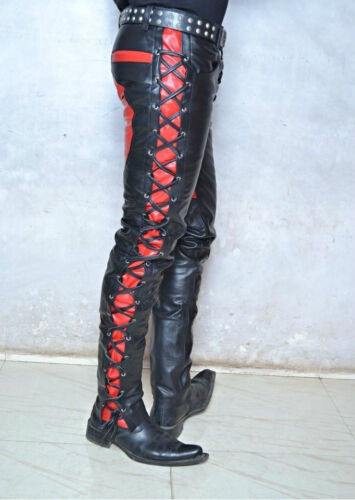 Leather Lace jeans pant patch fetish biker custom made great cut goth rock  GT