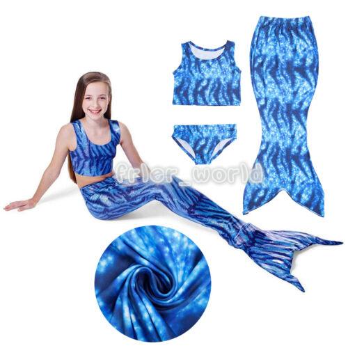 Kids Girls Mermaid Tail Bikini Sets Swimwear Swim Cosplay Costume Age 2-11 Years