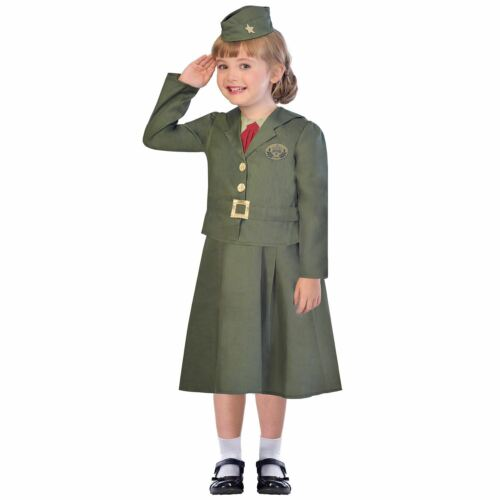 WW2 Girl Soldier Childrens Book Week Fancy Dress Costume