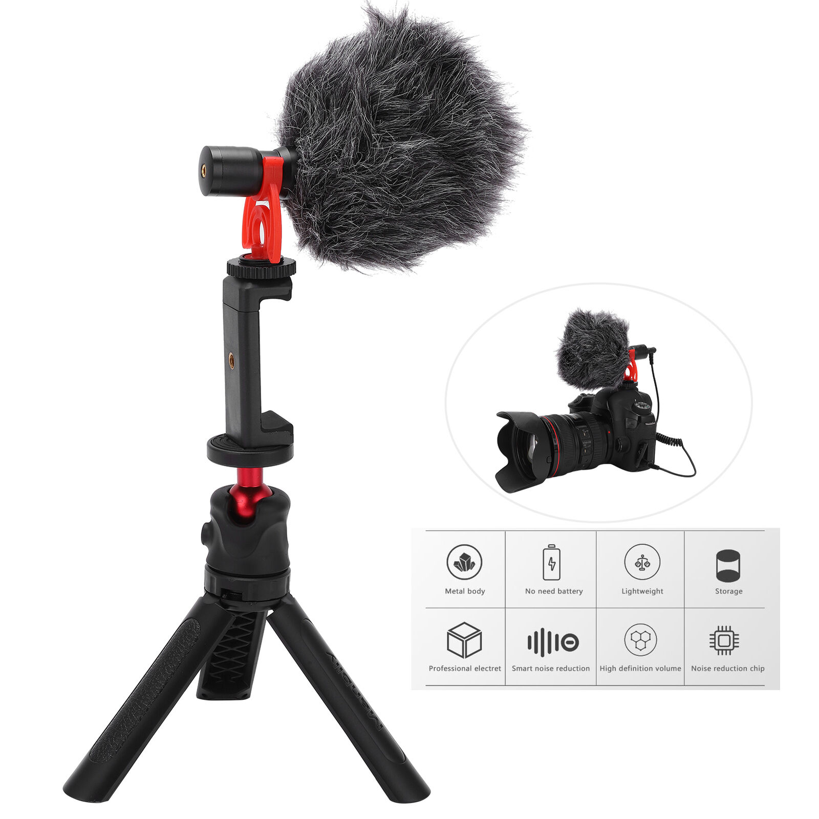 Manbily SLR Camera Microphone Video Interview Recording Mic with Tripod and Clip