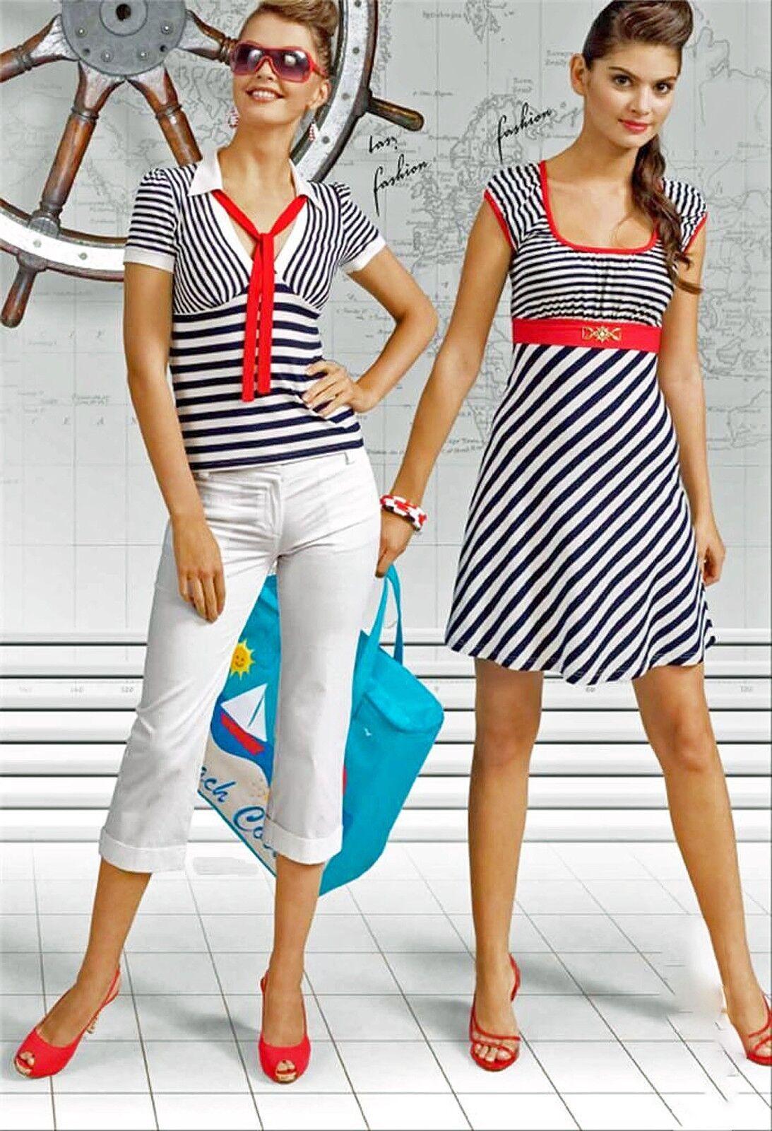 STRIPED SHORT DRESS SUMMER EUROPEAN MINI DRESS CAP SLEEVE ANCHOR DECOR