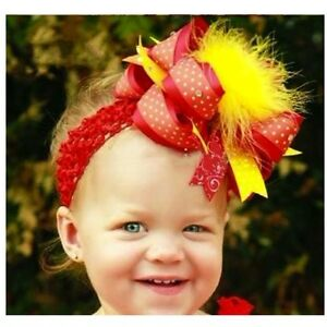 RED-YELLOW-GIRLS-TODDLERS-HAIR-RIBBON-BOW-FASCINATOR-WITH-FEATHERS