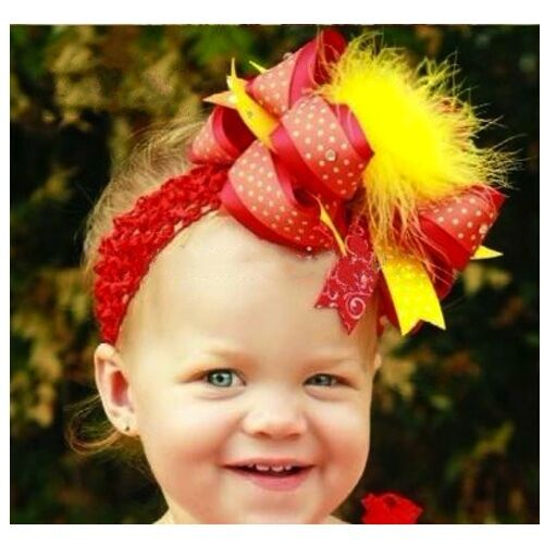 FASCINATOR WITH FEATHERS RED-YELLOW GIRLS-TODDLERS HAIR RIBBON-BOW