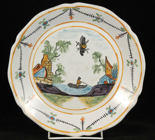 Vintage Italian Ceramic Plate Italy Hand Painted Unusual w Fly Collectible