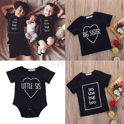 0-5Y Baby Bro Sister Kid Boys Girls Tops T-Shirt Clothes Short Sleeve Tops Tee