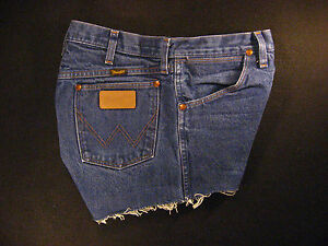 Wrangler Vintage CUTOFF JEAN SHORTS Cut Off High Waisted W 32 MEASURED Hot Pants