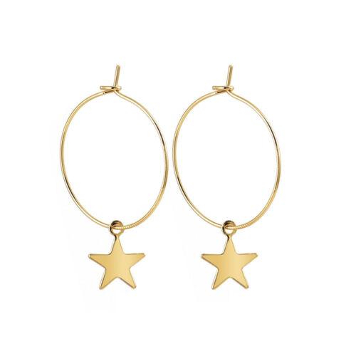 Boho Vintage Fashion Simple Large Circle Star Hoop Earrings Women Jewelry New