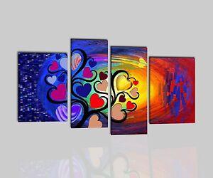 Quadri moderni astratti dipinti a mano olio su tela rosso for Quadri moderni colorati