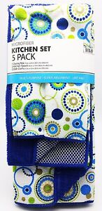 Kitchen Dish Drying Mat Towels Cloths Set 5 Pack Blue