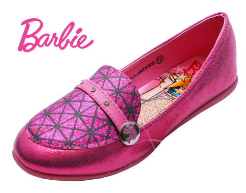GIRLS PINK BARBIE SLIP-ON PARTY GLITTER FLAT CHILDRENS JUNIOR SHOES SIZES 10-2