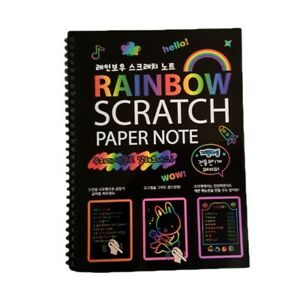 19x26Cm-Large-Magic-Color-Rainbow-Scratch-Paper-Note-Book-Black-Diy-Drawing-J8S6