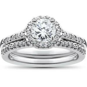 1ct Diamond Halo Matching Soliaire Wedding Engagement Ring Set 10K White Gold